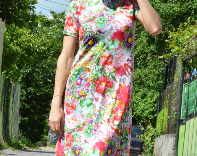 Woman Daywear Dress, Flowers Dress, Extravagant Long Dress, Plus Size Dress, Maxi Dress, Elegant Dress by SSDfashion