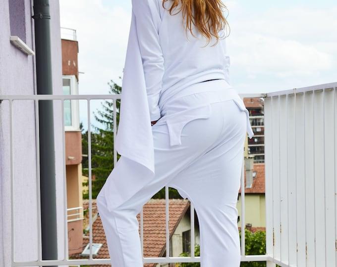 Women Sports set, White Drop Crotch Pants, Maxi Set, Urban Style Pants, Loose Sweatshirt design, Extravagant Sweatshirt by SSDfashion