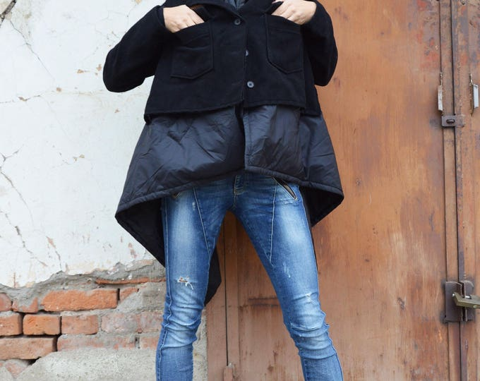 Black Asymmetric Warm Coat, Plus Size Cashmere Coat, Long Sleeves Vest, Winter Extravagant Cardigan, Maxi Large Pockets by SSDfashion