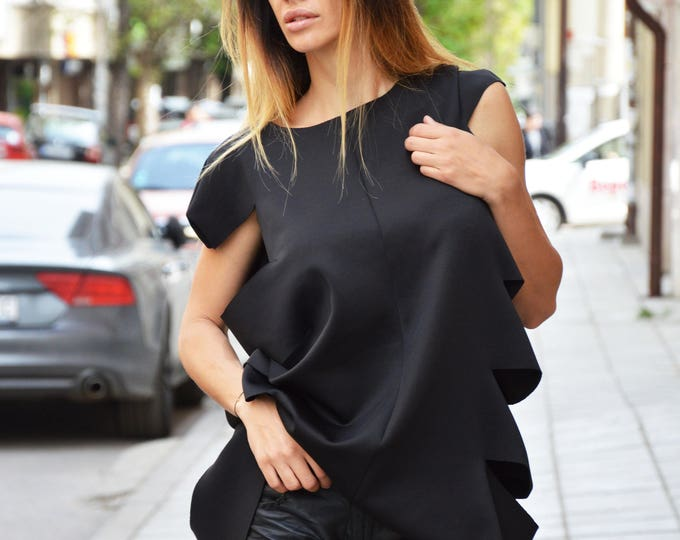 Asymmetric Black Neoprene Top, Loose Long Tunic, Casual Tunic, Elegant Office Dress, Maxi Tunic Dress, Loose Top by SSDfashion