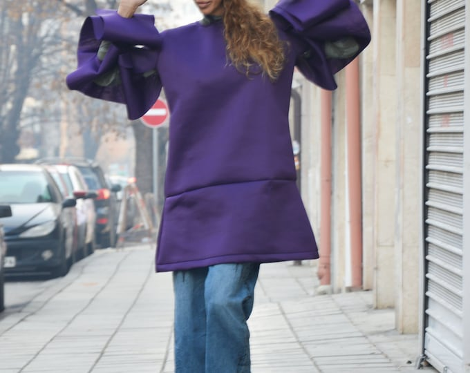 Extravagant Purple Tunic Top, Neoprene Dress, Women's Tunic, Asymmetric Long Sleeves Tunic, Fashion Thumb Holes, Maxi Dress by SSDfashion