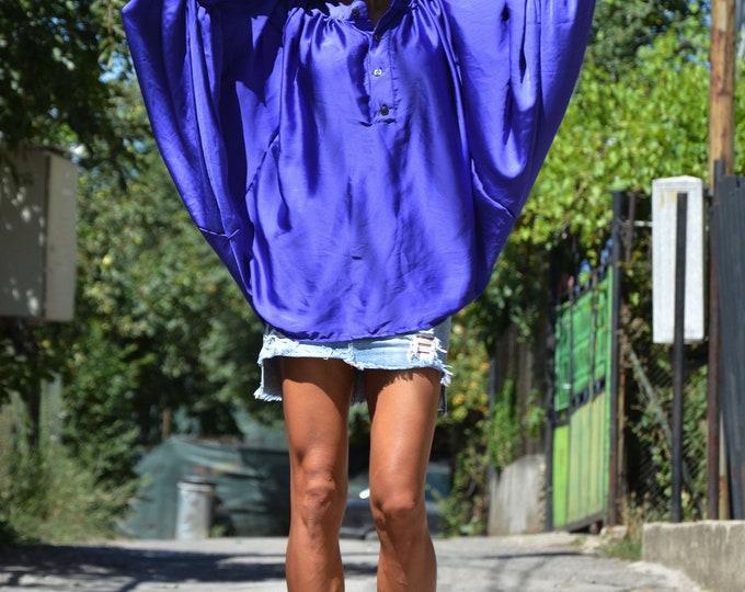 Loose Turkish Blue Shirt, Plus Size Shirt, Asymmetric Top, Oversize Shirt, Handmade Shirt, Maxi Shirt, Summer Shirt by SSDfashion