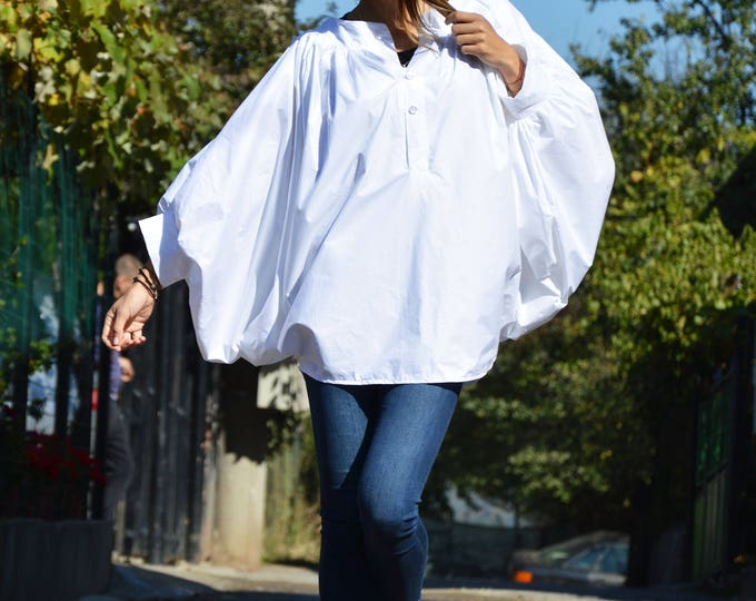 649e9d99969848 Cotton Summer Shirt Top, White Shirt for Women, Asymmetric Maxi Shirt,  Buttoned Casual