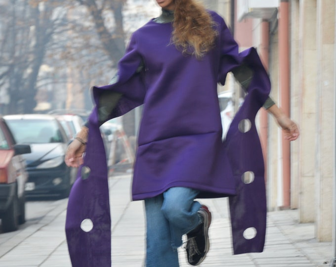 Extravagant Purple Tunic Top, Neoprene Women's Tunic, Asymmetric Long Sleeves Tunic, Fashion Thumb Holes by SSDfashion