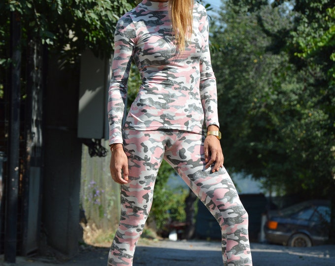 Camouflage Cotton Oversize Set, Casual Blouse and Pants Set, Extravagant Sexy Leggings, Plus Size Pants And Top Set by SSDfashion