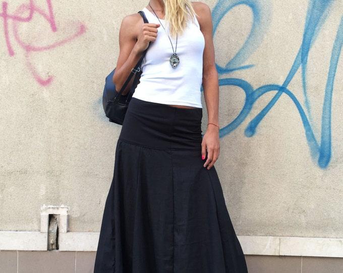 Extravagant Black Skirt, Loose Linen Skirt, Summer Skirt, Oversize Long Skirt,Everyday Skirt, Elastic Skirt, Everyday Skirt by SSDfashion