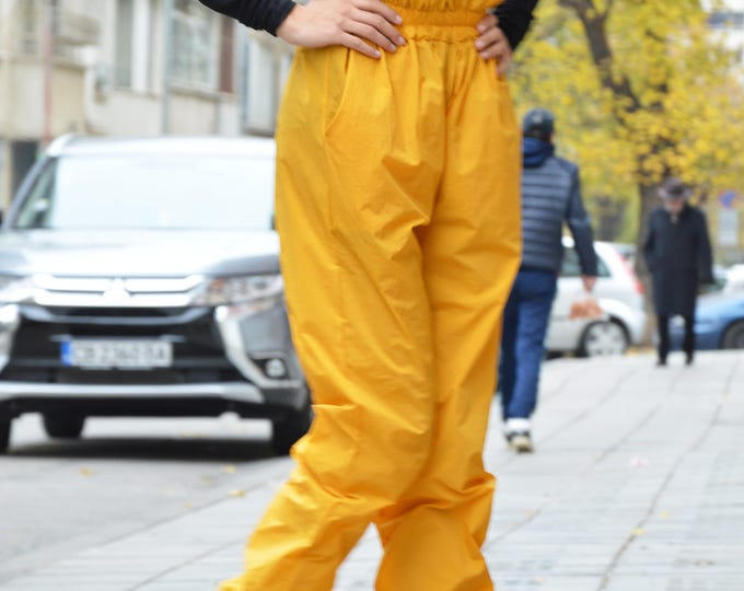 Extravagant Mustard High Waist Pants, Large Wide Leg Pants,  Extravagant Design Pants, Elegant Trousers by SSDfashion