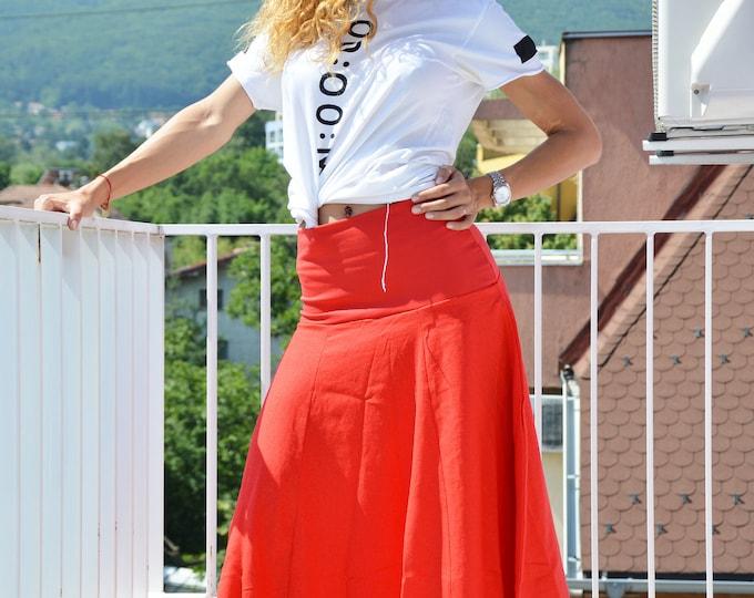 Long Red Linen Skirt, High Waist Loose Skirt, Elegant Maxi Skirt, Extravagant Summer Collection by SSDfashion