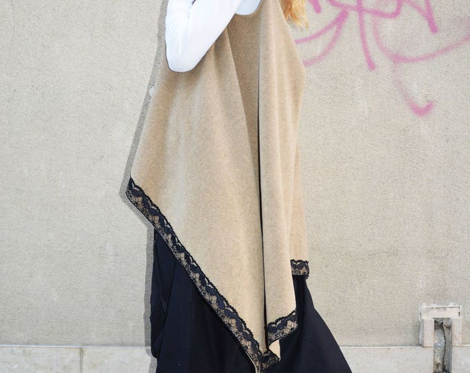 Asymmetric Women Vest, Maxi Vest With Lace, Plus Size Available, Loose Sleeveless Coat, Winter Wool Vest by SSDfashion