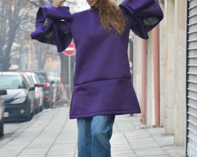 Extravagant Purple Tunic Top, Neoprene Dress, Women's Tunic, Asymmetric Long Sleeves Tunic, Fashion Thumb Holes, Maxi Dress by SSDfashion