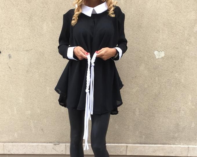 Black Shirt With White Collar, Oversized Maxi Shirt, Elegant Work Shirt, Plus Size Women, Midi Sexy Dress by SSDfashion