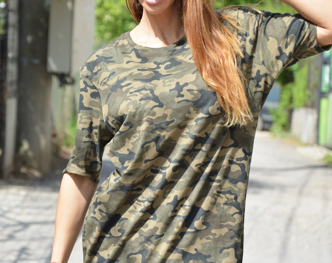 Military Long Modern T-shirt, Loose Soft Casual Shirt, Summer Short Sleeves Top, Maxi Stylish Wear by SSDfashion