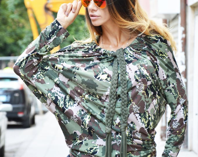 Casual Military Blouse, Plus Size Tunic Top, Maxi Viscose Top, Fashion Blouse, Day-wear Shirt, Formal Tunic Top by SSDfashion