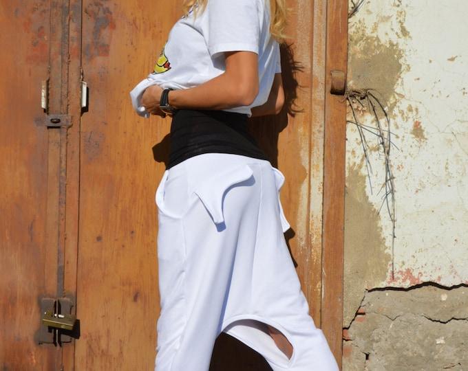 Extravagant White Pants, Drop Crotch Harem Pants, Casual Pants, Maxi Pants, Womens Pants, Loose Trousers by SSDfashion