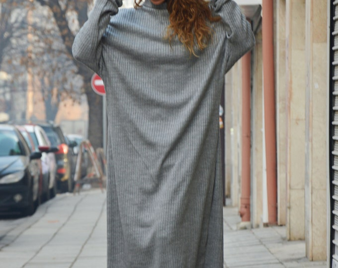 Maxi Dress, Gray Knitting Long Dress, Casual Caftan, Winter Plus Size Dress, Warm Dress, Loose Dress, Women Dress by SSDfashion