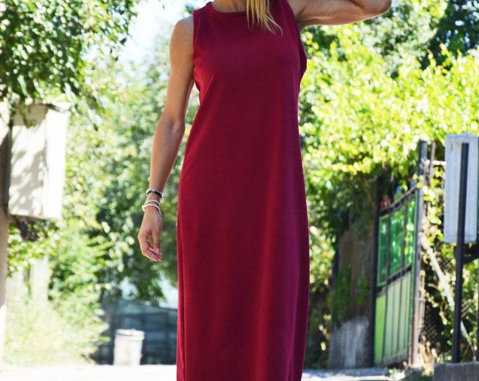 Women maxi Dress, Cotton Burgundy Dress, Kaftan Dress, Autumn Winter Dress, Long Dress for Woman, Loose Sleeveless Dress by SSDfashion