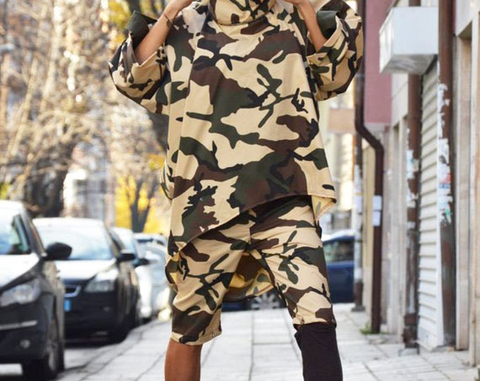 Camouflage Turtleneck Loose Sweatshirt, Long Short Sleeves Shirt, Extravagant Oversize Shirt, Maxi Sports Jacket by SSDfashion