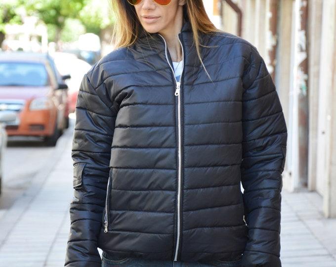 Women Black Zipper Jacket, Wool Coat, Winter Long Sleeves Jacket, Warm Coat Side Pockets, Maxi Jacket by SSDfashion