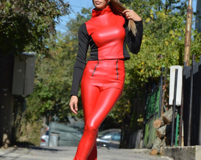 Red Leather High Waist Pants, Stretchy Pants, Tight Fit Casual Pants, Elegant Zipper Leggings, Motor style Pants by SSDfashion