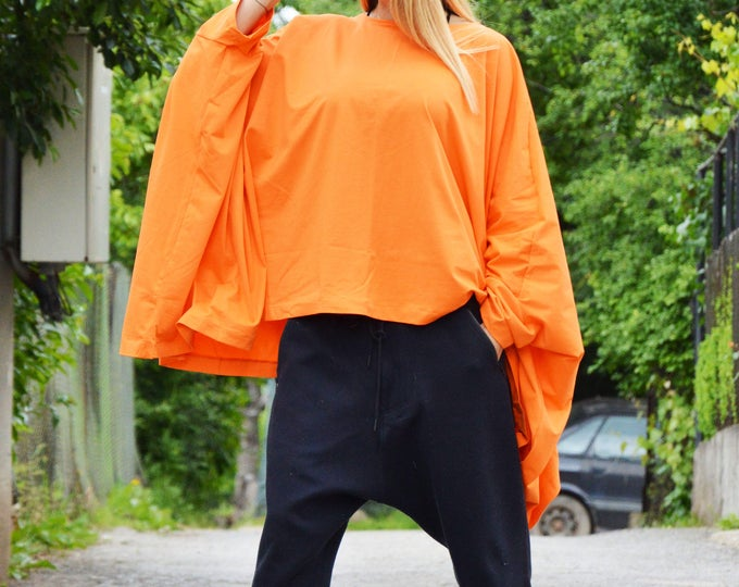 Orange Oversize Top for Women, Cotton Top, Plus Size Maxi Clothing, Handmade Summer Top, Kaftan Top, Loose Casual Tunic by SSDfashion