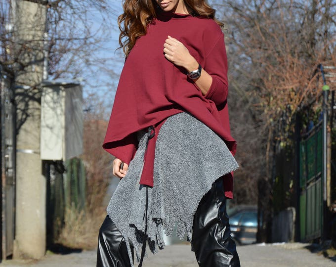 Women Burgundy Trendy Set, Extravagant Tunic and Sexy Skirt, Asymmetric Oversize Fashion outfit by SSDfashion