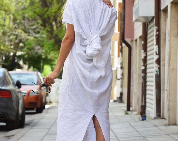 Maxi Linen White Dress, Extravagant Long Dress, Short Sleeves Dress, Party Dress, Plus Size Dress, Design Dress by SSDfashion