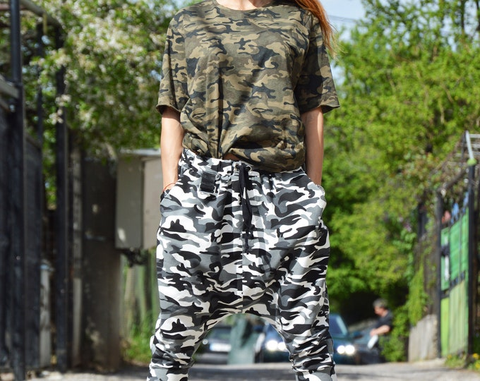 Drop Crotch Cotton Shorts, Camouflage Capris for Women, Harem Loose Pants, Extravagant Black and White Pants by SSDfashion