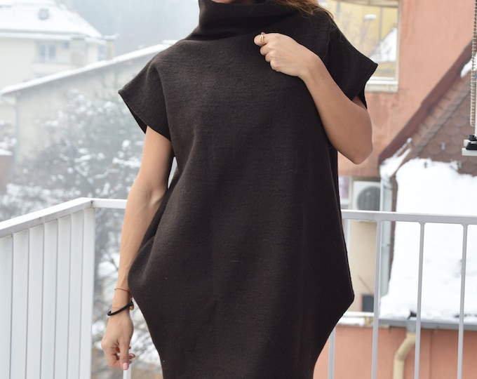 Brown Cashmere Turtleneck Dress, Maxi Collar Pullover, Autumn Maxi Top, Winter Fashion Wool Top by SSDfashion