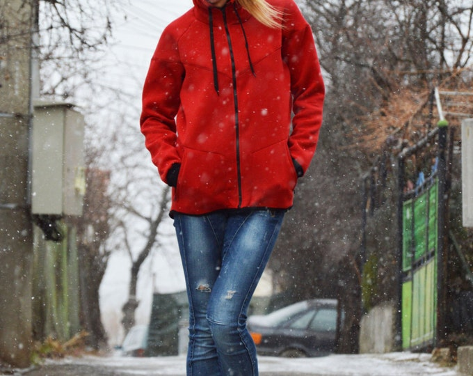 Red Hooded Sweater Jacket, Extravagant Sweatshirt, Quilted Cotton Zipper Hoodie, Red Sweatshirt Side Pockets by SSDfashion
