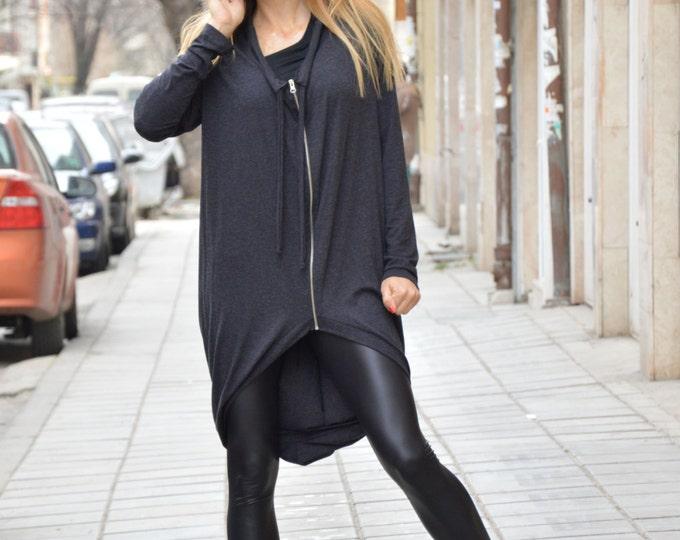 Dark Grey Sweatshirt, Maxi Sweatshirt, Extravagant Asymmetrical Jacket, Extra Long Sleeves, Zipper Top by SSDfashion