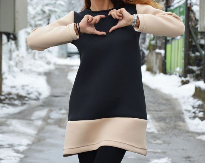 Fashion Neoprene Tunic Top, Black and Beige Top, Casual Blouse, Long Sleeves Blouse, Fashion Design, Sexy Top, Elegant Dress by SSDfashion