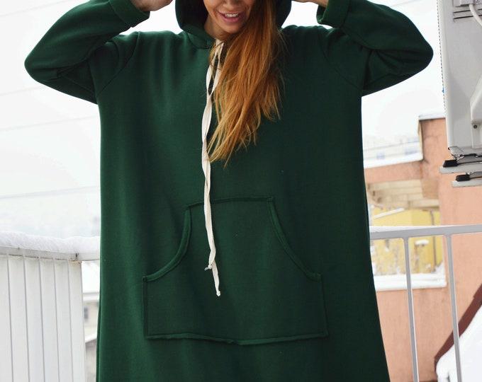Women Winter dress, Long dress, Olive Green Maxi dress, Long Dress for Women, Hooded Plus Size Dress, Cotton Kaftan by SSDfashion