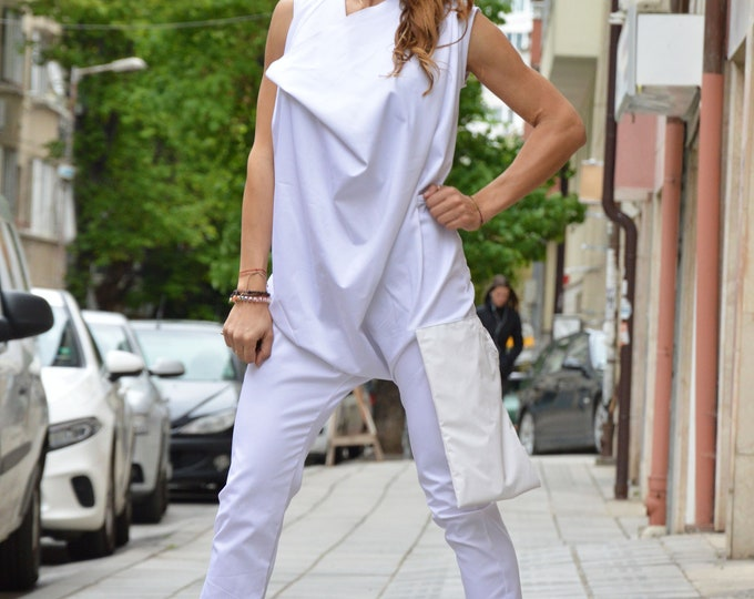 Women Drop Crotch Jumpsuit, Union Suit with Leather Pocket, White Casual Bodysuit, Extravagant Overalls Romper by SSDfashion