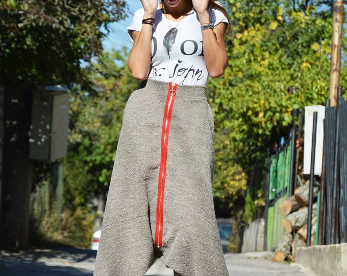 Winter Loose Wool Boucle High Waist Pants, Extravagant Casual Bottom Pants, Maxi Drop Crotch Pants by SSDfashion