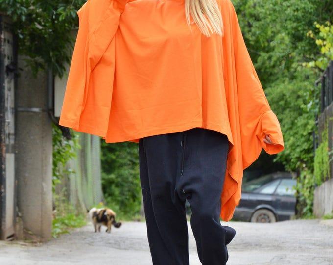 Oversize Cotton Orange Tunic, Plus Size Maxi Clothing, Asymmetric Tunic, Loose Casual Tunic by SSDfashion