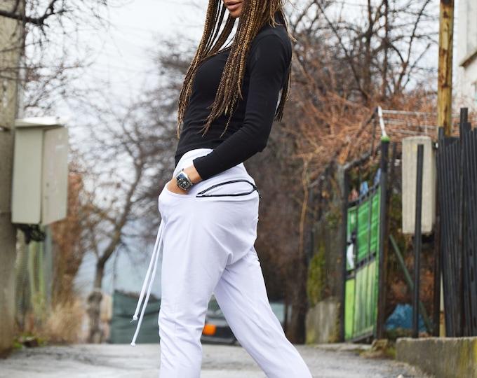 White Harem Pants, Casual Elegant Pants, Drop Crotch leggings Pants, Loose Pants,  Maxi Drop Crotch by SSDfashion
