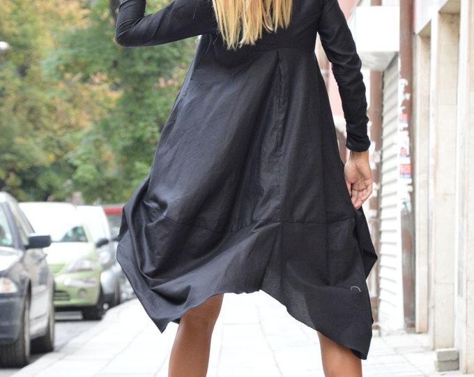 Women's Black Long Shirt, Asymmetric Loose Shirt, New Collection, Oversize Cotton Dress, Plus Size Dress, Maxi Shirt by SSDfashion