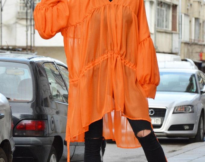 Asymmetric Orange Shirt, Summer Tunic Top, Plus Size Maxi Top, Daywear Casual Top, Oversize Sleeveless Tunic,Casual Long Dress by SSDfashion