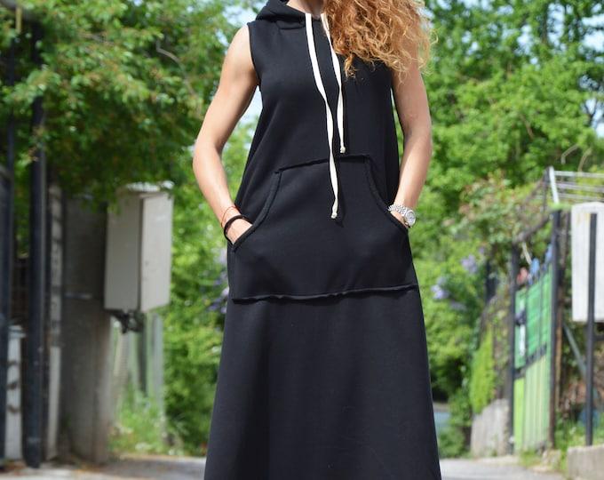 Black Sleeveless Dress, Hooded Long Dress, Winter Front Pocket Dress, Extravagant Casual Maxi Kaftan, Comfortable by SSDfashion