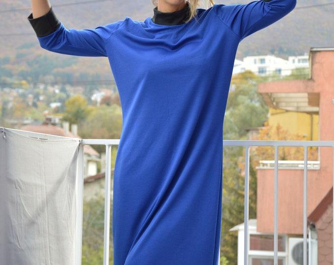 Half Sleeve Tunic Dress, Maxi Winter Dress, Plus Size Midi Dress, Women Blue Turtleneck Dress by SSDfashion