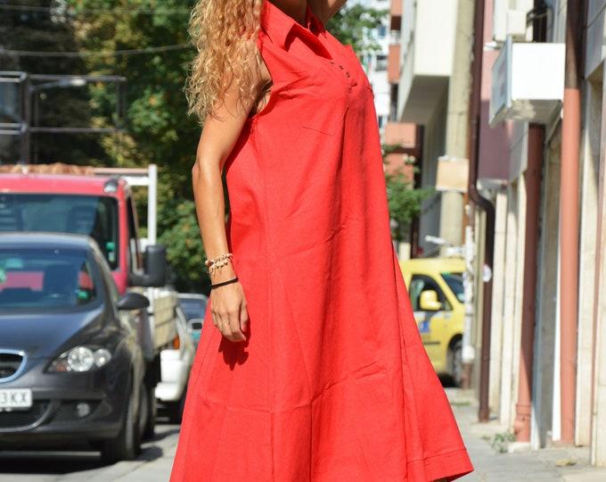 Red Kaftan Dress, Extravagant Tunic, Asymmetrical Dress, Linen Sleeveless Dress, Plus Size Dress, Loose Dress,Long women Dress by SSDfashion