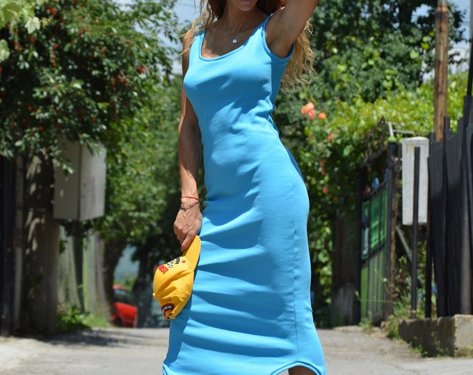 Summer Oversize Blue Mini Dress, Extravagant Sexy Sleeveless Tunic, Handmade Cotton Dress, Plus Size Top by SSDfashion