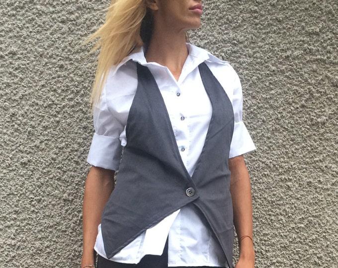 Women's Sleeveless Vest, Extravagant Vest, Cotton Buttons Vest, Gray Vest, Cotton Vest, Asymmetrical Vest, Elegant Vest by SSDfashion