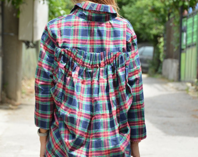 Oversize Wool Cotton Shirt, Asymmetric Autumn Shirt, Maxi Loose Shirt, Extravagant Shirt, Elegant Shirt by SSDfashion
