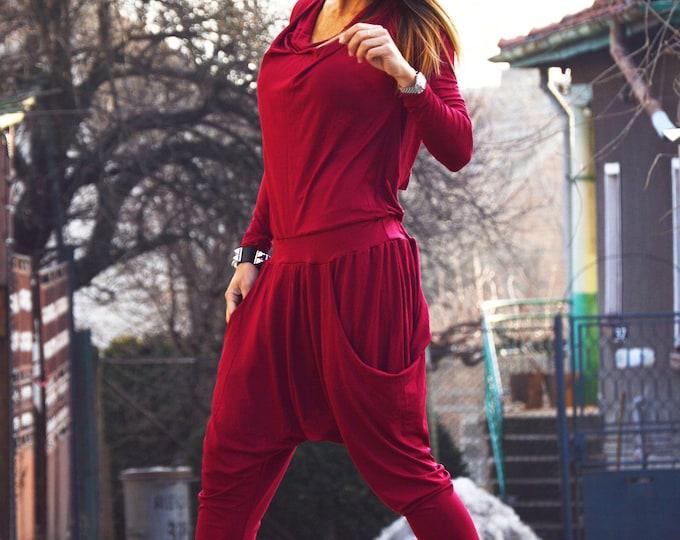 Cotton Bordeaux Jumpsuit, Union Suit, Harem Jumpsuit, Loose Drop Crotch Jumpsuit, Woman Jumpsuit, Autumn Black Jumpsuit by SSDfashion