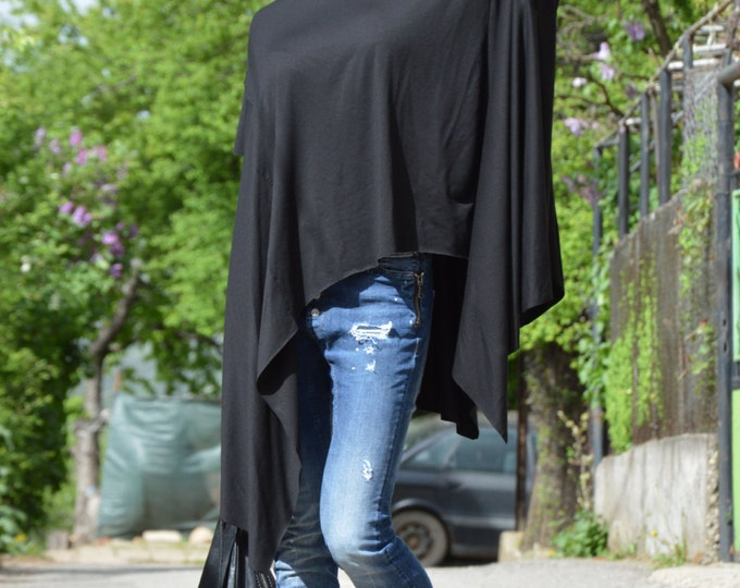 Asymmetric Black Tunic Top, Extravagant Loose Top, Casual Short Sleeve Top, Oversize Blouse by SSDfashion