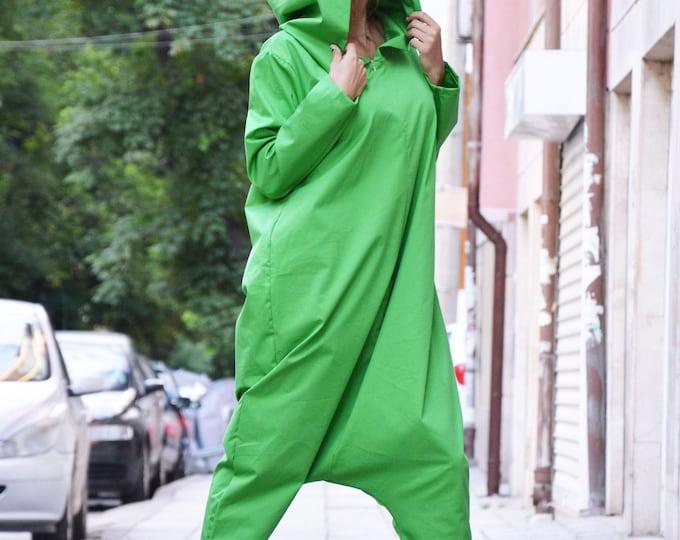Loose Green Hooded Jumpsuit, Cotton Casual Drop Crotch Pants, Women Plus Size Zipper Jumpsuit by SSDfashion