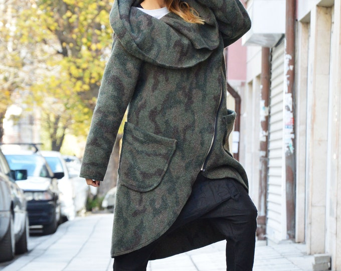 Asymmetric Extravagant Military Warm Coat, Long Sleeves Winter Coat, Womens Zipper Cashmere Coat by SSDfashion