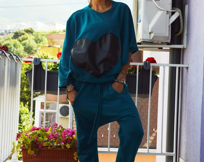 Women's Turquoise Set, Extravagant Combo Set, Drop Crotch Pants, Maxi Tunic, Extravagant Pants, Asymmetric Sweatshirt by SSDfashion