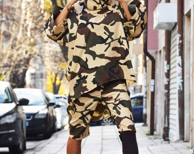 Camouflage Maxi Set, Extravagant Loose Shirt, Military Turtleneck Sweatshirt, Drop Crotch Pants, Cotton Pants by SSDfashion